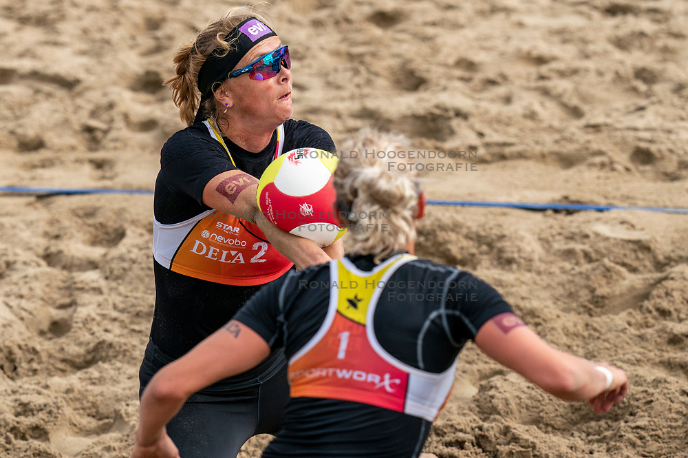 Madelein Meppelink, Sanne Keizer in action. The Final Day of the DELA NK Beach volleyball for men and women will be played in The Hague Beach Stadium on the beach of Scheveningen on 23 July 2020 in Zaandam.