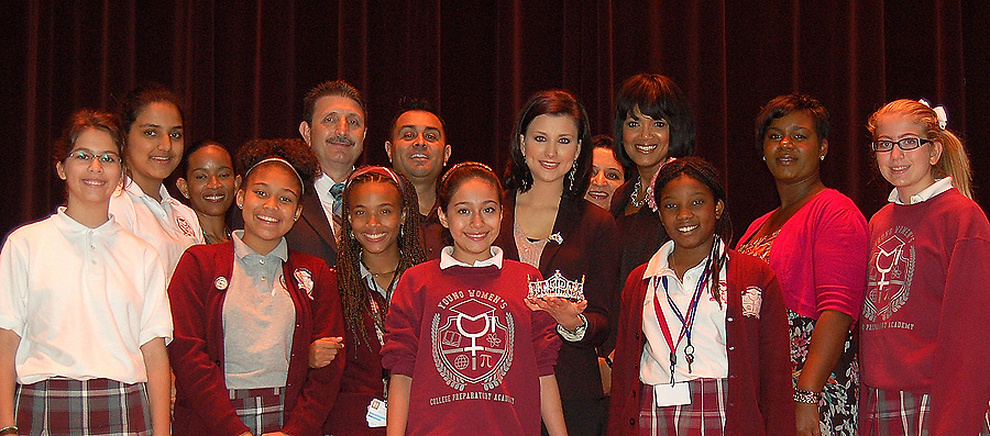 Miss America 2012 visited the Young Women's College Preparatory Academy. She spoke about how she never thought she would be successful nevertheless be named Miss America since her father was sent to prison while she was in high school.