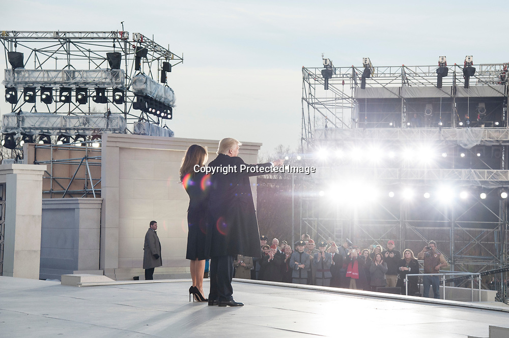 President-Elect Donal Trump with his wife Melania Trump arrive to The 58th Presidential Inauguration Welcome Concert at the Lincoln Memorial in Washington DC on January 19, 2017.