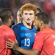 EAST HARTFORD, CONNECTICUT- October 16th:    Josh Sargent #13 of the United States and Tim Weah #11 of the United States jostle for position at a corner kick during the United States Vs Peru International Friendly soccer match at Pratt & Whitney Stadium, Rentschler Field on October 16th 2018 in East Hartford, Connecticut. (Photo by Tim Clayton/Corbis via Getty Images)