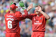 James Faulkner and Jos Butler celebrate during the NatWest T20 Blast Semi Final match between Hampshire County Cricket Club and Lancashire County Cricket Club at Edgbaston, Birmingham, United Kingdom on 29 August 2015. Photo by David Vokes.