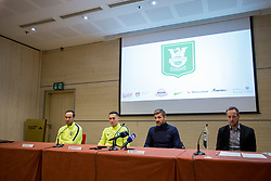Dragan Mrdja, Jason Davidson and Igor Biscan at press conference of NK Olimpija before spring part season of PLTS, on February 21, 2017 in Austria Trend Hotel, Ljubljana, Slovenia. Photo by Urban Urbanc / Sportida