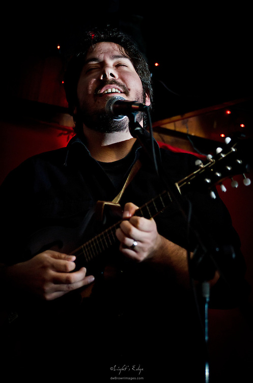 Joe D'Amico on mandolin and vocals during Mason Porter's performance at Appel Farm's Festival Happy Hour held at Fergie's Pub in Philadelphia, PA.