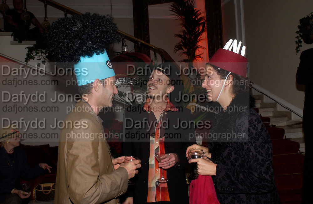 Ralph Lazar, Paul Aston and Lisa Swerling, Dr. Seuss Cat in the Hat Ball and charity auction in aid of Macmillan cancer relief. Bulgarian Embassy, Exhibition Rd. London. 20 October 2004. ONE TIME USE ONLY - DO NOT ARCHIVE  © Copyright Photograph by Dafydd Jones 66 Stockwell Park Rd. London SW9 0DA Tel 020 7733 0108 www.dafjones.com