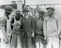 1926 Jesse Lasky with carpenters at his new studio on Marathon St. (later Paramount Studios)
