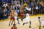 Cleveland Cavaliers forward LeBron James (23) leaves his feet before passing against the Golden State Warriors at Oracle Arena in Oakland, Calif., on January 16, 2017. (Stan Olszewski/Special to S.F. Examiner)