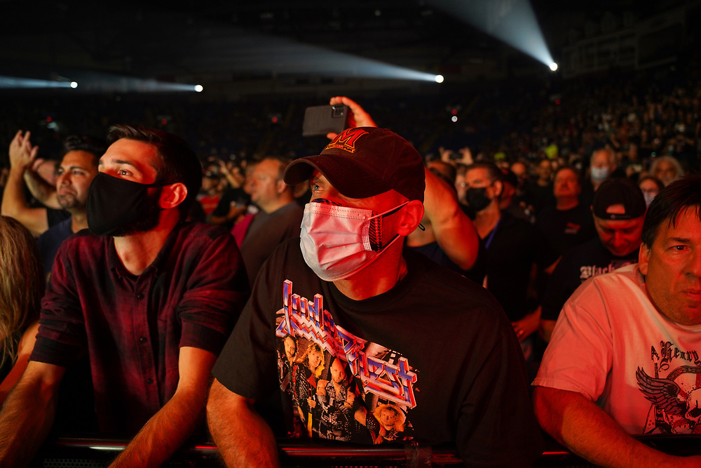 Fans watch as Judas Priest performs to kick off their 50th anniversary tour Sept. 8, 2021, at Santander Arena in Reading, Pennsylvania.
