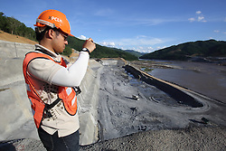 The Sayaboury Mekong mainstream hydro power dam construction, with the fish ladder construction, Sayaboury Province, Lao PDR.