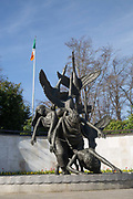 Oisín Kelly's sculpture The Children of Lir in the Garden of Remembrance on 2nd April 2017 in Dublin, Republic of Ireland. A memorial garden in Dublin dedicated to the memory of all those who gave their lives in the cause of Irish Freedom. Dublin is the largest city and capital of the Republic of Ireland.