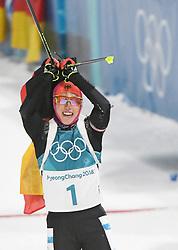 PYEONGCHANG, Feb. 12, 2018  Germany's Laura Dahlmeier celebrates after finishing women's 10km pursuit event of biathlon at the 2018 PyeongChang Winter Olympic Games at Alpensia Biathlon Centre in PyeongChang, South Korea, on Feb. 12, 2018. Laura Dahlmeier claimed champion in a time of 30:35.3. (Credit Image: © Wang Haofei/Xinhua via ZUMA Wire)