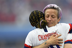 July 7, 2019 - Lyon, France - Megan Rapinoe (Reign FC) and Crystal Dunn (NC Courage) of United States celebrate after winning the 2019 FIFA Women's World Cup France Final match between The United State of America and The Netherlands at Stade de Lyon on July 7, 2019 in Lyon, France. (Credit Image: © Jose Breton/NurPhoto via ZUMA Press)