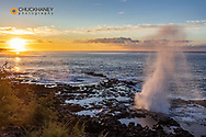 The Spouting Horn at sunrise near Poipu in Kauai, Hawaii, USA
