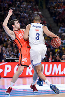 Real Madrid's Anthony Randolph and Valencia Basket's Guillem Vives during Quarter Finals match of 2017 King's Cup at Fernando Buesa Arena in Vitoria, Spain. February 19, 2017. (ALTERPHOTOS/BorjaB.Hojas)