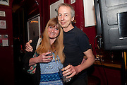 DINAH SWAIN; AARON DAVIS, The Man Booker Best Of Beryl Prize, The Union, 50 Greek Street, London, 19 April 2011. Party celebrates special prize created by the Booker Foundation in honour of the late Beryl Bainbridge who died in July 2010.   -DO NOT ARCHIVE-© Copyright Photograph by Dafydd Jones. 248 Clapham Rd. London SW9 0PZ. Tel 0207 820 0771. www.dafjones.com.
