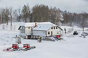Fresh snow at Milzkalns ski resort on 12th February 2019 in Milzkalns in Latvia. The small ski resort of Milzkalns is located in the Engure Municipality in western Latvia.