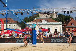 Pauline Alves of Brasil and Tereza Jarosova and Gabriela Kotvova of Czech Republic at Beach Volleyball Challenge Ljubljana 2014, on August 2, 2014 in Kongresni trg, Ljubljana, Slovenia. Photo by Matic Klansek Velej / Sportida.com