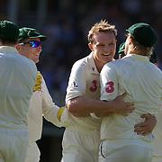 Doug Bollinger celebrates after dismissing Kamran Akmal caught by Shane Watson during the Australia V Pakistan 2nd Cricket Test match at the Sydney Cricket Ground, Sydney, Australia, 4 January 2010. Photo Tim Clayton