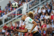 Steven NZONZI of France, Kasper DOLBERG of Denmark during the 2018 FIFA World Cup Russia, Group C football match between Denmark and France on June 26, 2018 at Luzhniki Stadium in Moscow, Russia - Photo Thiago Bernardes / FramePhoto / ProSportsImages / DPPI