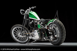 A green and white custom built from a 1982 Harley-Davidson Ironhead Sportster by Jeremy Valentine of Joker Cycle Works in Fort Wayne, IN. Photographed by Michael Lichter during the Easyriders Bike Show in Columbus, OH on February 19, 2016. ©2016 Michael Lichter.