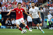 Thomas DELANEY of Denmark, Olivier GIROUD of France during the 2018 FIFA World Cup Russia, Group C football match between Denmark and France on June 26, 2018 at Luzhniki Stadium in Moscow, Russia - Photo Thiago Bernardes / FramePhoto / ProSportsImages / DPPI