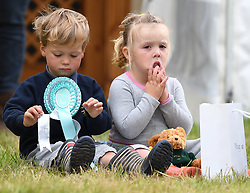 Members of The Royal Family attend the Whatley Manor Horse Trials at Gatcombe Park, Minchinhampton, Gloucestershire, UK, on the 8th September 2017. 08 Sep 2017 Pictured: Charlie Meade, Mia Tindall. Photo credit: James Whatling / MEGA TheMegaAgency.com +1 888 505 6342