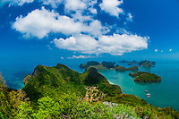 Overview from Ko Wua Talap, one of the islands in the Angthong National Marine Park (42 limestone islands) near Koh Samui (island), Gulf of Thailand, Thailand