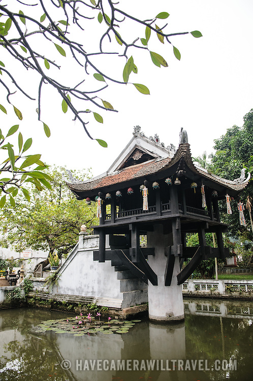 The historic, small One Pillar Pagoda sits in the center of a small pond near the Ho Chi Minh Museum in the Ba Dinh district of Hanoi. It is one of the most iconic temples in Vietnam and dates back to the 11th century.
