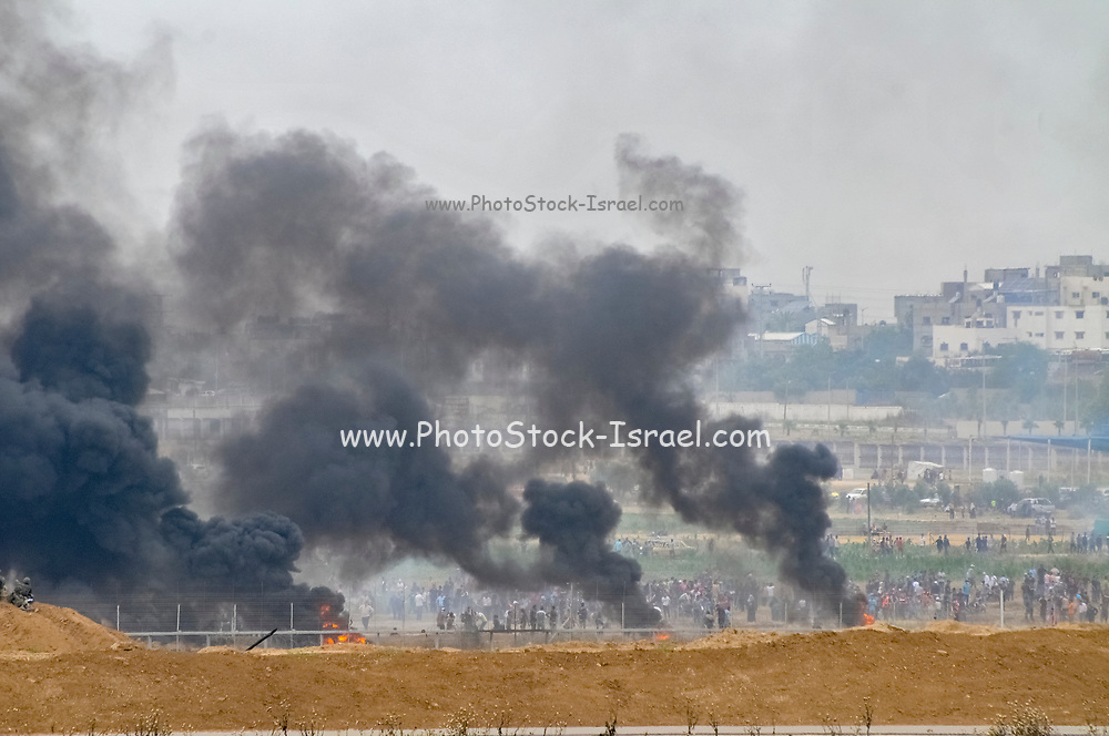 On Fridays, Palestinians protest and riot on the Israeli border some rioters approach the fence and are shot by IDF soldiers. Photographed on the Palestinian Israeli border on May 4th 2018