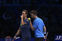 November 19, 2017 - London, England, United Kingdom - Henri Kontinen of Finland and John Peers of Australia  discuss tactics against Lukasz Kubot of Poland and Marcelo Melo of Brazil (1) in the doubles final today - Kontinen / Peers def Kubot / Melo 6-4, 6-2 at O2 Arena on November 19, 2017 in London, England. (Credit Image: © Alberto Pezzali/NurPhoto via ZUMA Press)