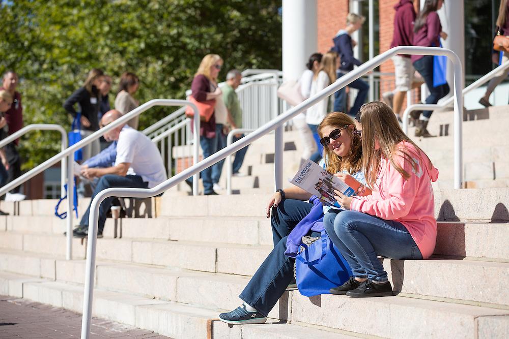 Waltham, MA 09/27/2015<br /> Bentley University Fall Open House<br /> Jess Nussbaum and her mother Jodi look over the campus map.<br /> Alex Jones / www.alexjonesphoto.com
