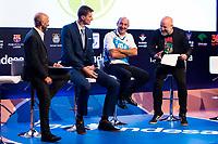 Sport journalist Antonio Lobato, Rio Natura Monbus Obradoiro player Artem Pustovyi, actor Manuel Manquiña and comedian Goyo Jimenez during the presentation of the new season of La Liga Endesa 2016-2017 in Madrid. September 20, 2016. (ALTERPHOTOS/Borja B.Hojas)
