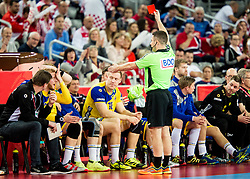 Red card for Jim Gottfridsson of Sweden during handball match between National teams of Sweden and Norway on Day 7 in Main Round of Men's EHF EURO 2018, on January 24, 2018 in Arena Zagreb, Zagreb, Croatia.  Photo by Vid Ponikvar / Sportida