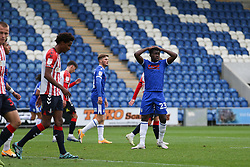 Kwame Poku of Colchester United hands on his heads after missing a chance to score - Mandatory by-line: Arron Gent/JMP - 03/10/2020 - FOOTBALL - JobServe Community Stadium - Colchester, England - Colchester United v Oldham Athletic - Sky Bet League Two