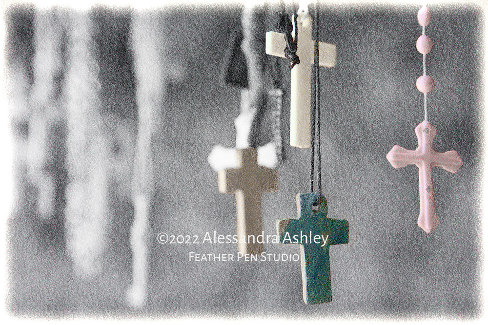 Rosaries at Santuario de Chimayo, found along the High Road to Taos, a scenic route from Santa Fe to Taos through the Sangre de Cristo mountains of northern New Mexico.