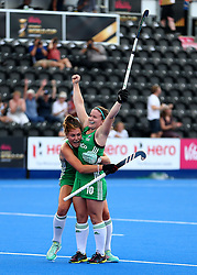 Ireland's Shirley McCay celebrates scoring his side's second goal of the game with teammates during the Vitality Women's Hockey World Cup pool B match at The Lee Valley Hockey and Tennis Centre, London.
