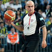 Referee's Recep ANKARALI during their Turkish Basketball Legague Play-Off semi final first match Fenerbahce between Efes Pilsen at the Sinan Erdem Arena in Istanbul Turkey on Tuesday 24 May 2011. Photo by TURKPIX
