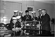 "02/06/1964 <br /> 06/02/1964<br /> 02 June 1964<br /> Sea Scouts at Palgrave Murphy Shipping Ltd., Eden Quay, Dublin. The Scouts examine a model of the ""City of Dublin"". Palgrave Murphy named their ships after ports.  Mr. C.M. Grace, Engineer Superintendent, Palgrave Murphy Shipping Ltd. is on the right."