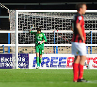 Preston North End's Declan Rudd looks dejected after spilling the ball into the net, allowing Peterborough United's Grant McCann to score his sides second goal <br /> <br /> Photo by Chris Vaughan/CameraSport<br /> <br /> Football - The Football League Sky Bet League One - Peterborough United v Preston North End - Saturday 5th October 2013 - London Road - Peterborough<br /> <br /> © CameraSport - 43 Linden Ave. Countesthorpe. Leicester. England. LE8 5PG - Tel: +44 (0) 116 277 4147 - admin@camerasport.com - www.camerasport.com