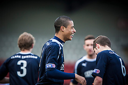 Falkirk's Lyle Taylor celebrates after scoring their goal..Airdrie United 0 v 1 Falkirk, 30/3/2013..©Michael Schofield..