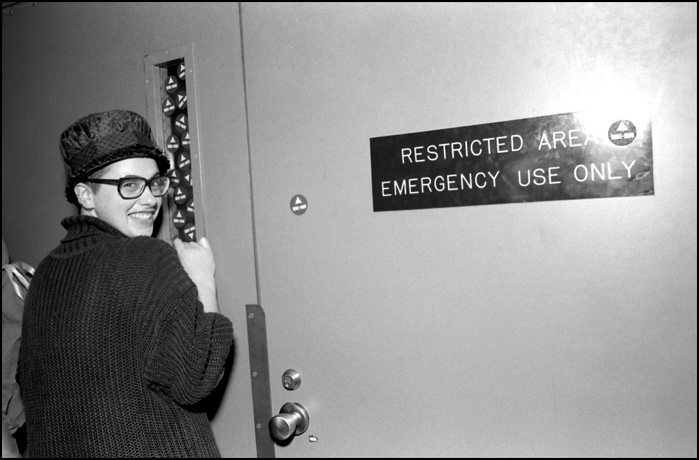 At a Monday night ACT UP meeting in September 1989, it was brought to the floor that a gay man had been kicked out of the ER at St. Vincents Hospital by a security guard because he had dared to kiss his lover. A heated conversation ensued and eventually the whole room got up, walked around the corner to the hospital and took over the waiting room in the ER. As a result, the hospital agreed to meet with representatives of ACT UP.<br /> <br /> Several ACT UP members met with the president of the hospital and the executive board, which resulted in sensitivity training for all of their employees.<br /> <br /> Garance Franke-Ruta inside the waiting room at St. Vincents Hospital.
