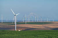 Wind Turbines Columbia Plateau near Wasco Oregon. Mount Adams is in the distance