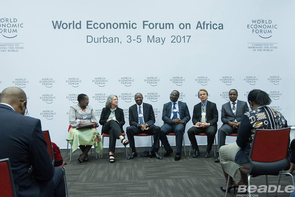 Mmamoloko Nkhensani Kubayi, Minister of Energy<br /> Ministry of Energy of South Africa, Kola Karim, Group Managing Director and Chief Executive Officer<br /> Shoreline Natural Resources and Gillian Caldwell, Chief Executive Officer<br /> Global Witness, Norman Bloe Mbazima, Deputy Chairman<br /> Anglo American South Africa, South Africa, Tim Hanstad, Co-Founder and Senior Adviser<br /> Landesa, Hlangusemphi Dlamini, Minister of Economic Planning and Development<br /> Office of H.M. the King of Swaziland   at the World Economic Forum on Africa 2017 in Durban, South Africa. Copyright by World Economic Forum / Greg Beadle
