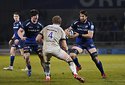Sale Sharks Lood De Jager runs at London Irish second-row Franco van der Merwe during a Gallagher Premiership Rugby Union match won by Sharks 39-0, Friday, Mar. 6, 2020, in Eccles, United Kingdom. (Steve Flynn/Image of Sport)