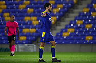 AFC Wimbledon defender Will Nightingale (5) pointing during the EFL Sky Bet League 1 match between AFC Wimbledon and Peterborough United at Plough Lane, London, United Kingdom on 2 December 2020.