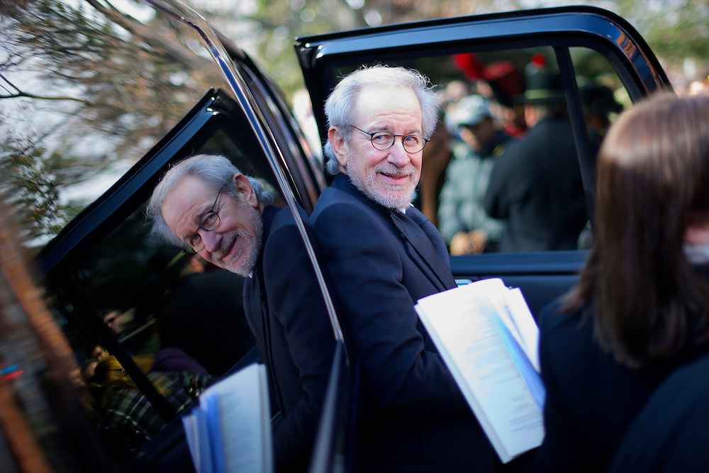 Director Stephen Spielberg departs after delivering the keynote address during Dedication Day, marking the 149th anniversary of Abraham Lincoln's Gettysburg Address in Gettysburg, PA.