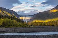 Morning light on Exit Glacier in Kenai Fjords National Park in Southcentral Alaska. Autumn.