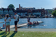 """Henley on Thames, United Kingdom, 29th June 2018, Friday, """"Henley Royal Regatta"""", Qualifying races, [Time Trails] over the, Regatta Course, Crew, leaving the pontoon to in the, Boat Tent area, to race, , Henley Reach, River Thames, Thames Valley, England, © Peter SPURRIER, 29/06/2018"""