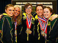 Loughborough, England - Saturday 31 July 2010: Luke Boon, Jake Eve, Kirstin Morris, Aimee Devlin and Bonnie Somers from Team Australia win the overall World Open Teams Championship during the World Rope Skipping Championships held at Loughborough University, England. The championships run over 7 days and comprise junior categories for 12-14 year olds in the World Youth Tournament, 15-17 year olds male and female championships, and any age open championships. In the team competitions, 6 events are judged, the Single Rope Speed, Double Dutch Speed Relay, Single Rope Pair Freestyle, Single Rope Team Freestyle, Double Dutch Single Freestyle and Double Dutch Pair Freestyle. For more information check www.rs2010.org. Picture by Andrew Tobin/Picture It Now.