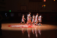 The McClatchy High School Lion's leave the floor before the game as the they host the Davis High School in the NorCal Division I Girls basketball playoff game,  Saturday March 14, 2015. McClatchy won the game 77-54.<br /> Brian Baer/Special to the Bee