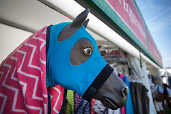 © Licensed to London News Pictures. 10/05/2017. Windsor, UK. Horse hoodies and blankets are displayed for sale on the first day of the Royal Windsor Horse Show. The five day equestrian event takes place in the grounds of Windsor Castle. Photo credit: Peter Macdiarmid/LNP